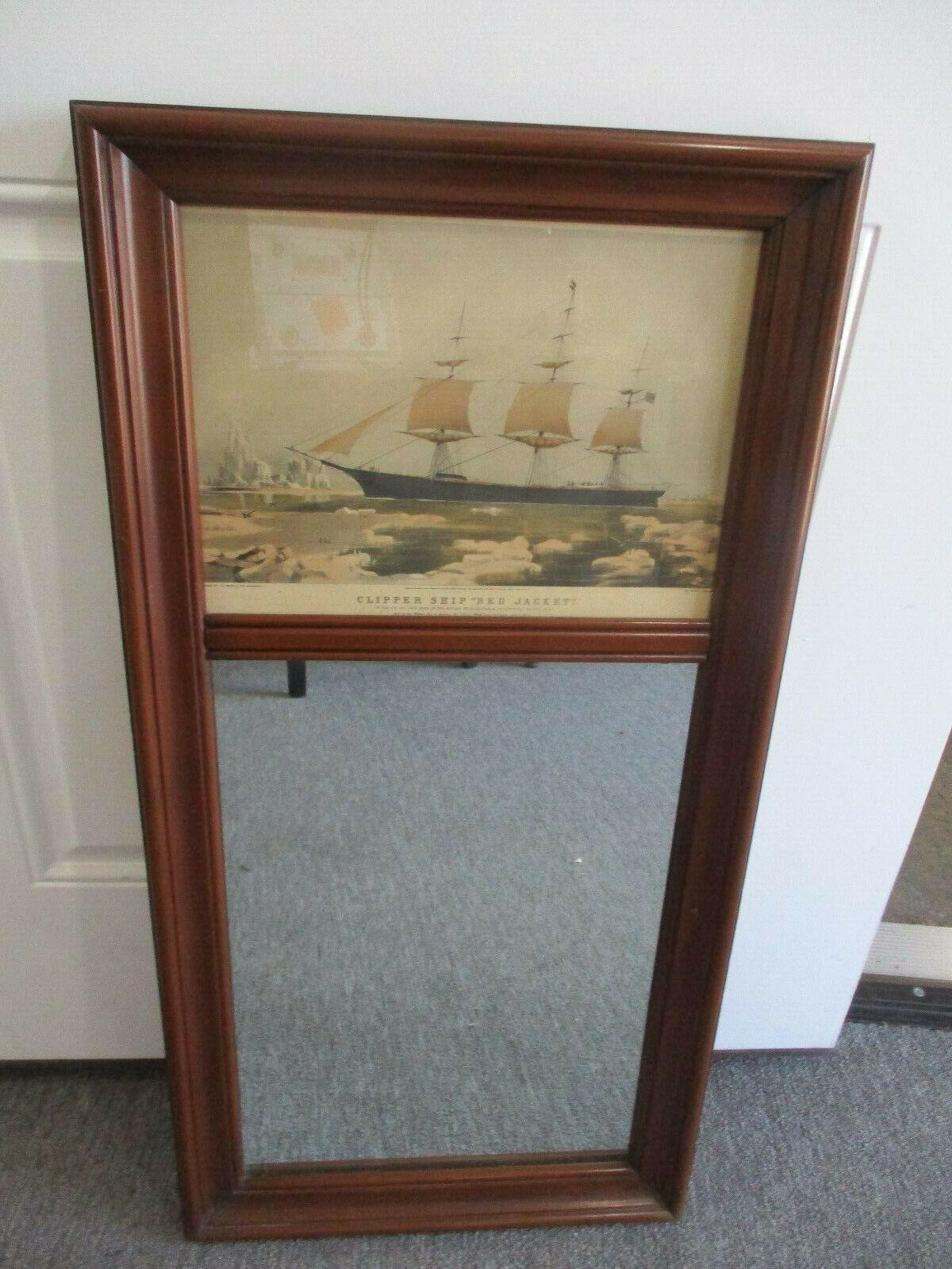 "Vintage Wooden Clipper Ship Rectangular Hanging Mirror 17"" X 34"""