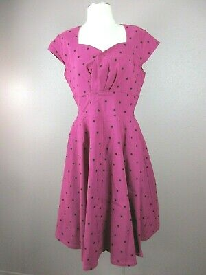 Hot Pink Polka Dot (GownTown Size XL Womens Hot Pink Polka Dot Short Sleeve Stretch Vintage)