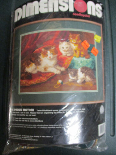 Dimensions 1993 The Proud Mother Needlepoint Kit Cat & Kittens Started