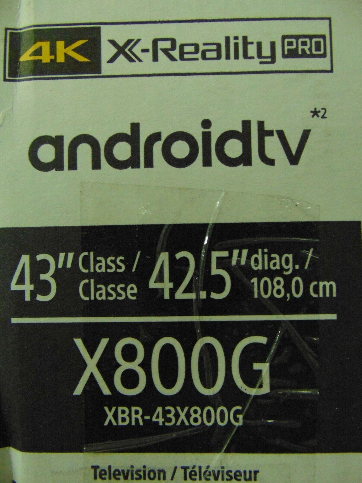 "Sony XBR-43X800G 43"" 4K HDR Ultra HD Smart TV"