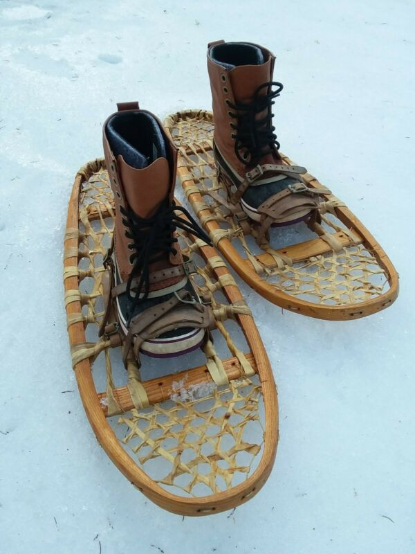 heritage snowshoes with bindings, wood, rawhide, used, good condition