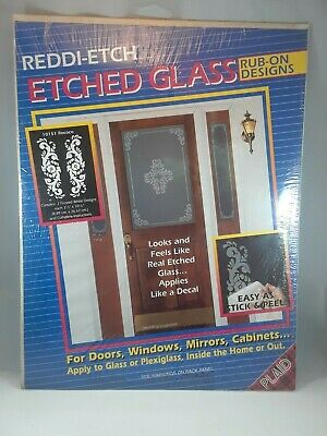 RUDDI-ETCH ETCHED GLASS RUB ON DESINGS CONTAINS 2 FROSTED WHITE DESIGNS 3 12 10