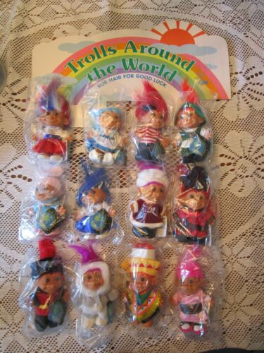 "12 AROUND THE WORLD TROLLS - 5"" Russ Troll Doll - NEW IN ORIGINAL WRAPPERS"