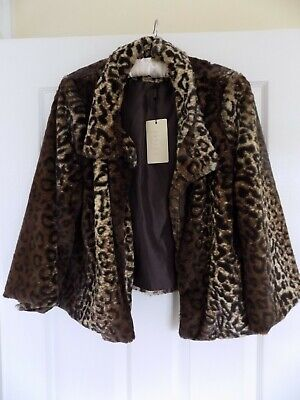 Ladies (New with Tags) Leopard Print Faux Fur Jayley Jacket (ONE SIZE)