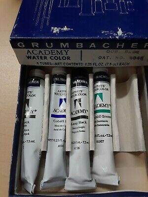 Vintage Watercolor Paint NOS Grumbacher Academy 4 Tubes with BOX Free Shipping - Grumbacher Watercolors