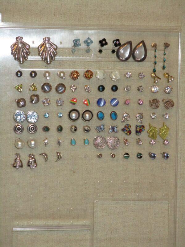 Vintage Sterling silver 925 stud earring lot 46 prs enamel mop pearls stones CZ