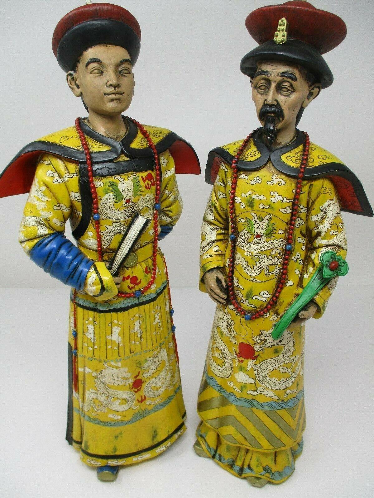 "Asian Oriental Royal Temple Men 16"" Resin Figurines Set Of 2"