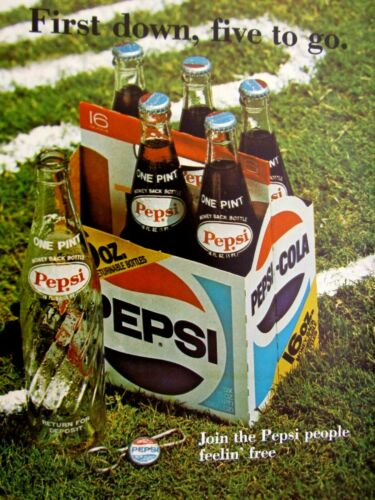 1975 Pepsi Cola First Down 5 To go 16 oz Bottles Original Print Ad 8.5 x 11""
