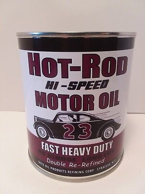 - Vintage HOT ROD Motor Oil Can 1 qt. -(Reproduction Tin Collectible)