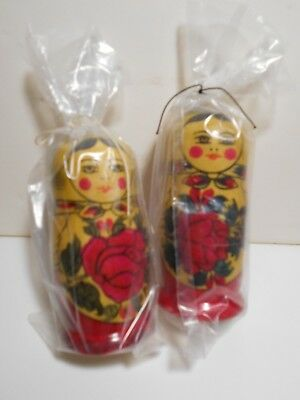 Vintage 2 Sets of Wood Russian Nesting Stack Dolls, 5 pc ea, New