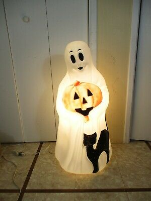 "Vtg Empire Ghost Pumpkin Black Cat Lighted Christmas Blow Mold Decor 34"" (aa)"