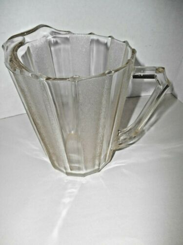 Vintage Heavy Glass Frosted and Clear Striped Beer Pitcher