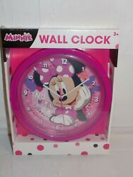 Disney Junior Minnie Mouse Children's Wall Clock 9.5 Pink Kids Bedroom Playroom