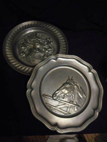 Vintage Pewter Lot of 2 Decorative Plates Equestrian Horse Fighting Armor