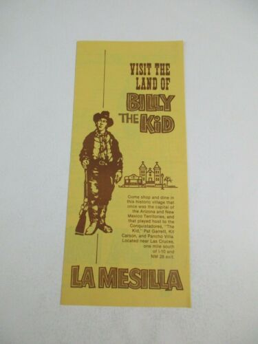 Vintage Billy the Kid La Mesilla Travel Guide Brochure & Road Map~18