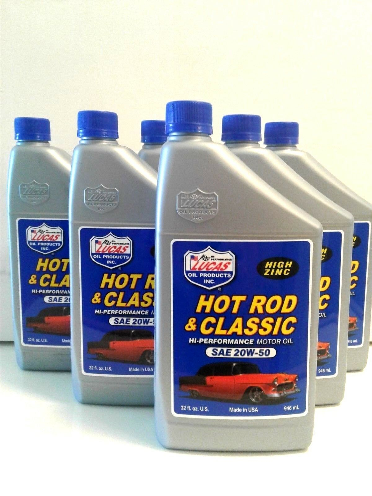 LUCAS OIL HOT ROD & CLASSIC CAR 20W50  MOTOR OIL #10689  6 X 1 QTS. ( USA )