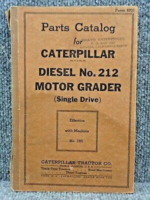 Oem Factory Caterpillar Cat No. 212 Motor Grader Parts Book Catalog Manual 1m1