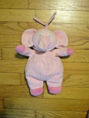 HTF Child of Mine Pink Plush Stuffed Elephant Musical Crib Pull Toy