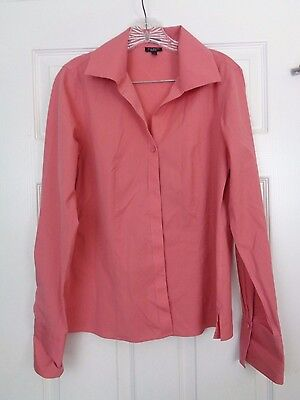 Talbots Womens Pink Long Sleeve Button Front Top Size 8