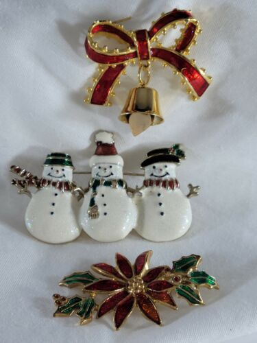 Vintage Christmas Holiday  Brooch Pin Lot Snowman Poinsettia Bow Bell Gold Tone