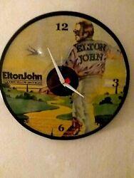 ELTON JOHN - YELLOW BRICK- 12 INCH QUARTZ WALL CLOCK- FREE PRIORITY SHIPPING