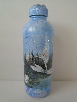Decorative Altered Glass Fairy Bottle Hand Painted & Decoupaged