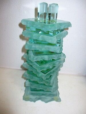 "Stacked Glass Candle Holder Green Frosted Clear 10 3/4"" Sculpted Edges Squares"