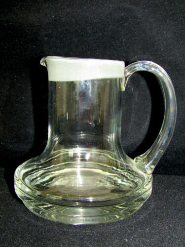"""Blown Glass Frosted Rim Clear Pitcher Creamer 4-3/4"""""""