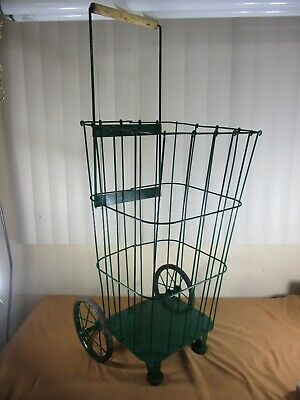 Vintage Green Metal Rolling Market Grocery Shopping Basket Cart Caddy 194050s