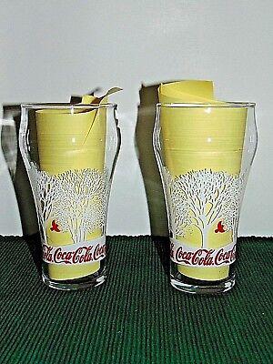 """Pair of COCA COLA glasses Winter scene Coke 6"""" tall, Excellent condition!!"""