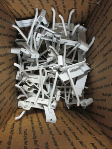 50 Used 4 Inch White Gridwall Hooks Used!