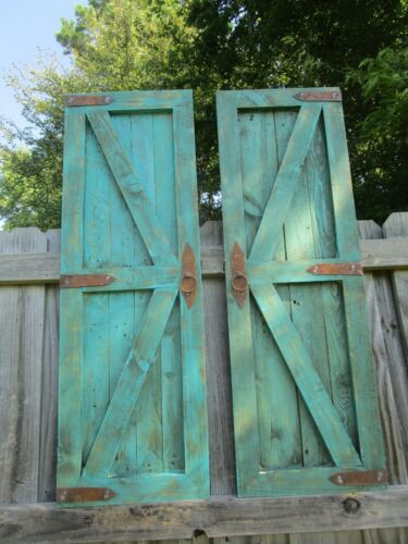 """Pair of Turquoise vintage inspired 48"""" Tall square top barn doors with hardware"""