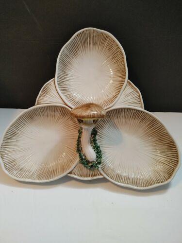 Vintage Italian Trompe L'oeil Woodland Mushroom 3 Section Serving Dish
