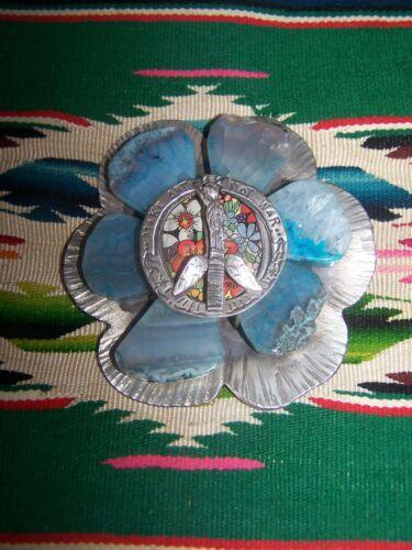 "Sterling ""Make Art Not War"" Tin Sliced Agate Flower Buckle~Sweetbird Studio"
