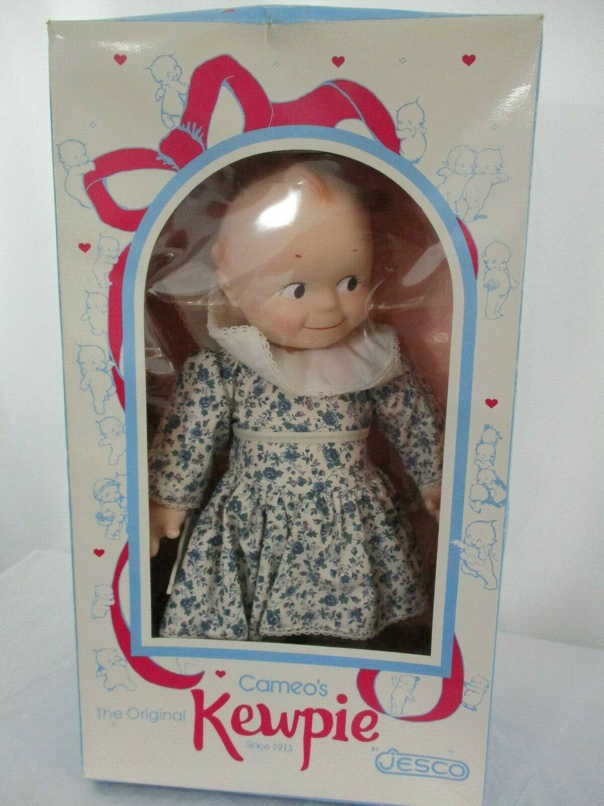 "Vintage Cameo 15.5"" Vinyl Kewpie Doll In Floral Dress New In Box"
