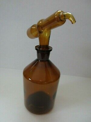 Amber Glass 50 Ml Tilt Measure Dispenser And 1000 Ml Bottle Lab Glassware