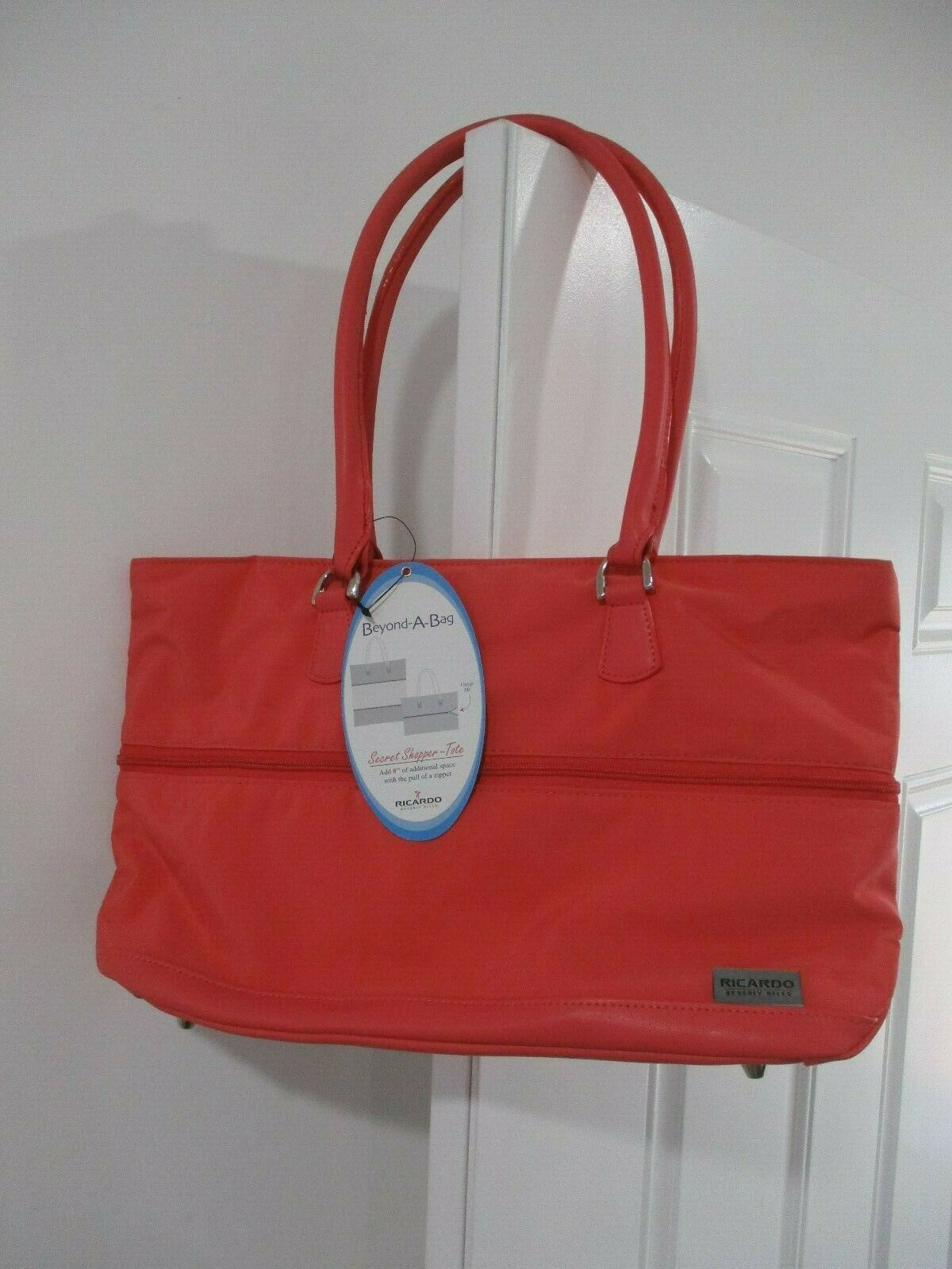Ricardo Beverly Hills Coral Secret Shopper Expandable Tote New With Tags
