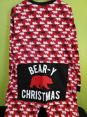 🐻 BEARY CHRISTMAS Pajamas * Size LARGE * VGUC Red Black White Lightweight 🐻 ()