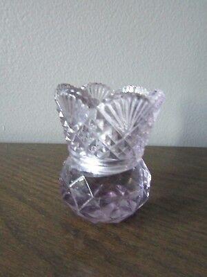 EAPG Sawtooth Rim Sun Purple Split Diamond w/Fan & Diamond Toothpick Holder