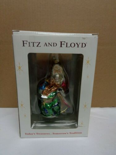 Fitz & Floyd Florentine Santa with Toy Bag Christmas glass ornament