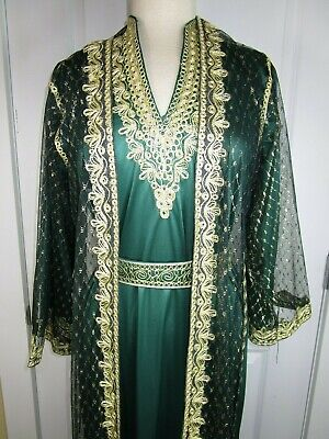 Authentic Vintage ARABIAN Elegant Gown Dress Sheer Cover - Arabian Dress Up