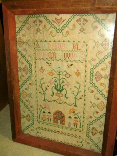 VINTAGE NEEDLEWORK ALPHABET SAMPLER IN ORIGINAL WOOD FRAME-NICE !!