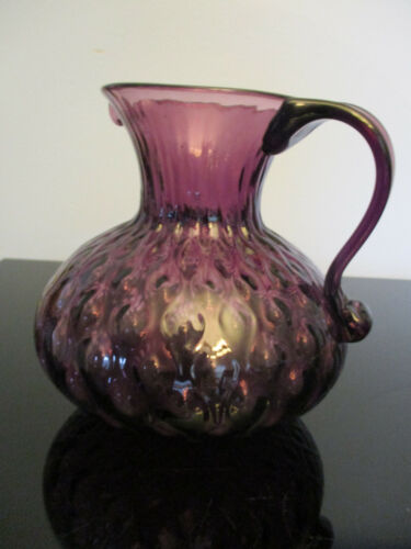 Vintage Purple Amethyst Quilted Molded Glass Applied Handle Pitcher Jug!