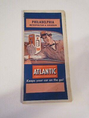 Vintage Atlantic Philadelphia Pennsylvania Oil Gas Station Travel Road Map