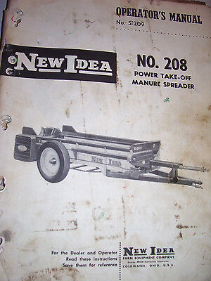 Orig New Idea Operators Manual-  208 Power Take-off Manure Spreader