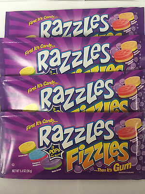 Razzles Fizzles 4ct Candy Set - First It's Candy & Then It's Gum FREE SHIPPING
