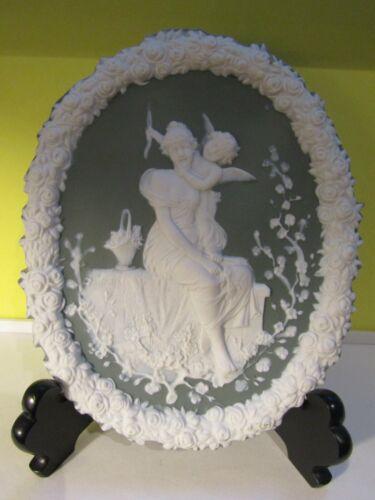 Antique Schafer & Vader Green German Jasperware Wall Plate #3023 Girl w/Cupid