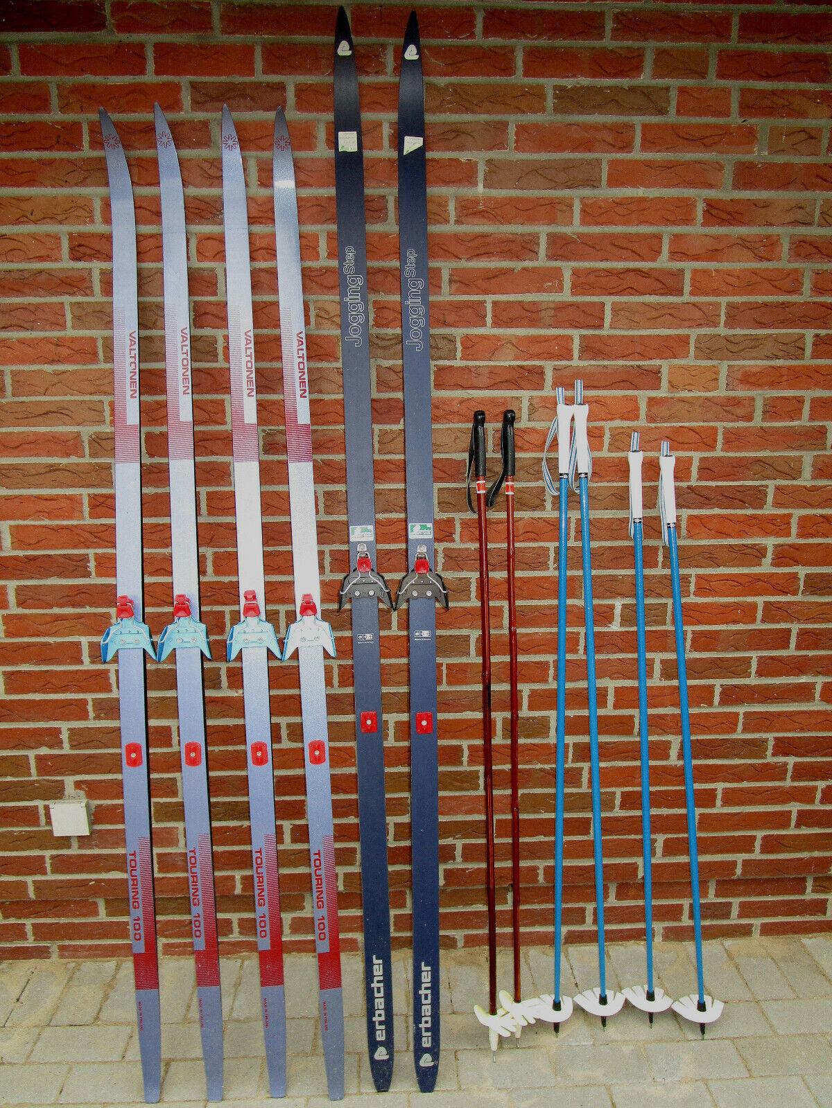 Skier Ski Langlauf 3 Paar  80 iger Jahre u. Skistöcke Damen u. Herren