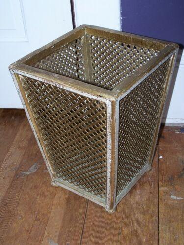 Vtg Franco Tacchi Florence Italy Wood & Weave Gilt Trash Can Waste Basket Old