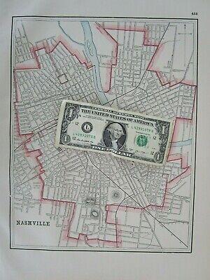 TN 1895 GOLD GILT NASHVILLE TENNESSEE City Map Historic 19th Century 1800s - $18.00
